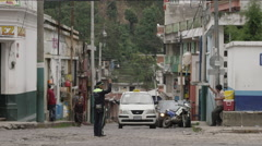 View of busy street in Guatemala Stock Footage