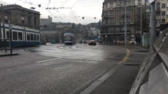 Time lapse of an intersection in Zurich, Switzerland Stock Footage