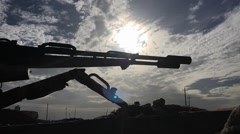 Time lapse of the moving sky over the Kurdish frontline with ISIS in SInjar Iraq Stock Footage