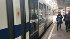 A cable car departing from it's station in Zurich, Switzerland. Stock Footage