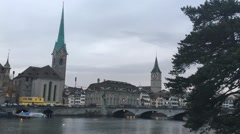 Time lapse of foot traffic on a bridge over the Limmat river in Zurich Switzerla Stock Footage