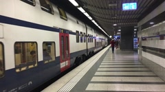 Subway departing from it's station in Zurich, Switzerland. Stock Footage