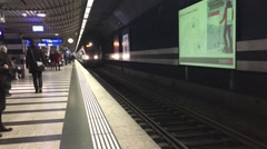 Subway coming into it's station in Zurich, Switzerland Stock Footage