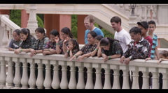 Group of tourist standing near the railing and smiling, Guatemala - stock footage