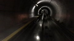 Subway going down a tunnel in Zurich Switzerland Stock Footage
