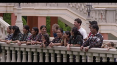Group of tourist standing near the railing and smiling, Guatemala Stock Footage