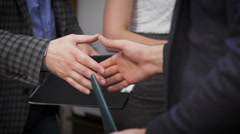 Close up of business handshake in the office Stock Footage