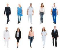 Collage Of People With Different Occupations Walking Against White Background Kuvituskuvat
