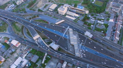 Aerial top view of traffic and vehicle car on tollway or express way in bangkok Stock Footage