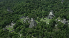 Aerial of Temple of the Two-headed snake at Tikal National Park - stock footage