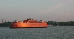 Staten Island Ferry Sailing  in New York 4k Stock Video - stock footage