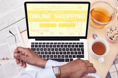 Man Online Shopping Stock Photos
