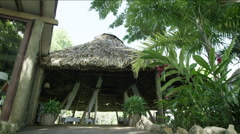 View of thatched roof restaurant, Guatemala Stock Footage