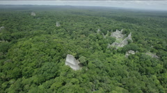 Aerial of Temple of the Two-headed snake at Tikal National Park Stock Footage