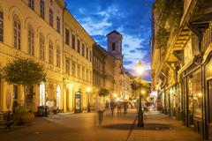 Blurred view of people in street, Budapest, Hungary Stock Photos