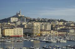 Aerial view of Marseille cityscape, Provence, France Stock Photos