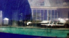 1961: Indoor swimming pool dome hotel cheap plastic bubble construction. Stock Footage