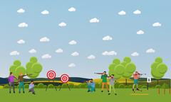 Vector set of sport shooting banner. Competition games. People in shoot Stock Illustration