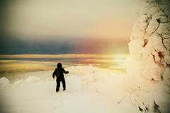 Hiker walking in snowy forest - stock photo