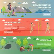 Vector set of summer recreation concept banners in flat style. Beach volleyball - stock illustration