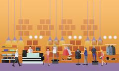 People shopping in a mall concept. Fashion clothes store Interior. Vector Piirros