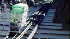 1959: Incline Railroad at Royal Gorge track small car inching along. - stock footage
