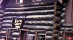 1959: Glen Cove Inn hotel wilderness log cabin high elevation 11,450. Stock Footage