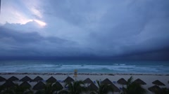 time lapse tropical beach resort after storm - stock footage