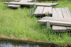 wood bridge in japan garden at day - stock photo