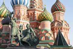 Blessed basil cathedral and Statue of Minin and Pozharsky Stock Photos