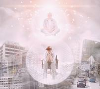 Caucasian man floating in bubble exploring virtual city Stock Photos
