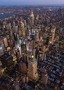 Aerial view of New York cityscape at dusk, New York, United States Stock Photos