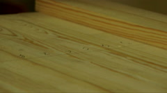 Wooden pieces on a working table. Stock Footage