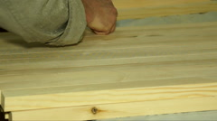 Marking of wooden pieces. Stock Footage