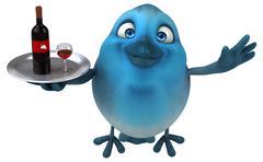 Blue bird - stock illustration
