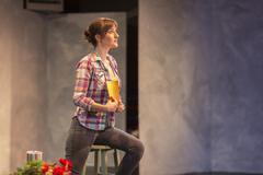 Hispanic actress rehearsing on theater stage Stock Photos