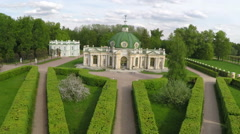 Aerial view of historic building in Tsaritsyno Park, Moscow Stock Footage