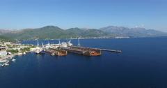 Aerial view of large floating dry dock for ship repairs in Adriatic sea Stock Footage