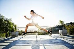 Chinese athlete running on balcony Stock Photos