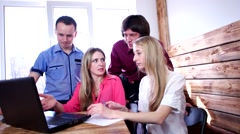 Team four men and women consulted about the decision of a problem. Stock Footage