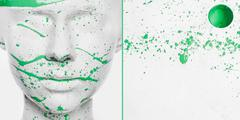 Caucasian woman in white makeup splashed with green paint Stock Photos