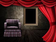 Room with armchair, curtains and frame - stock illustration