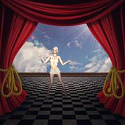 Woman on Theater Stage Stock Illustration