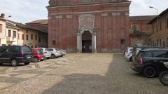 Cassolnovo, Italy – circa May 2016: Car park in Piazza della Chiesa Stock Footage
