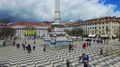 Lisbon Rossio aerial shooting Stock Footage