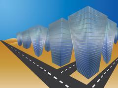 City in desert - stock illustration