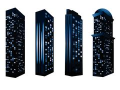 Detailed Buildings Silhouettes - stock illustration