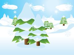 Fir trees on slope - stock illustration