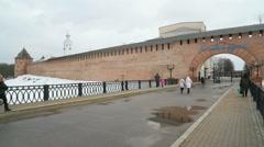 Old towers of Novgorod Kremlin, V.Novgorod, Russia Stock Footage