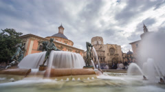 Neptuno fountain time lapse with blurred people - stock footage